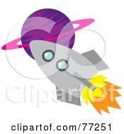 Rocket Shooting Past A Purple Planet