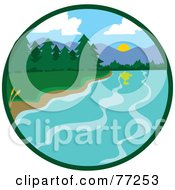Royalty Free RF Clipart Illustration Of A Circle Scene Of A Lake Shore With Lush Green Forests And Mountains by Rosie Piter