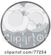 Circle Of Dark Rain Clouds And Droplets