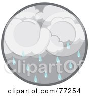 Royalty Free RF Clipart Illustration Of A Circle Of Dark Rain Clouds And Droplets