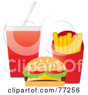 Royalty Free RF Clipart Illustration Of A Sesame Seed Bun Cheeseburger With French Fries And A Cola