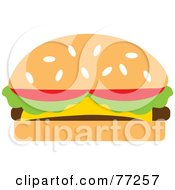 Royalty Free RF Clipart Illustration Of A Sesame Seed Bun Cheeseburger Garnished With Tomatoes And Lettuce