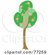 Royalty Free RF Clipart Illustration Of A Tall Green Tree With Pink Blossoming Flowers