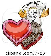 Clipart Picture Of A Chefs Hat Mascot Cartoon Character With An Open Box Of Valentines Day Chocolate Candies