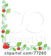 Royalty Free RF Clipart Illustration Of A Strawberry Vine Corner Border