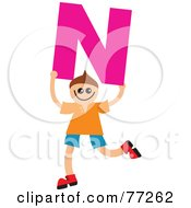 Alphabet Kid Holding A Letter Boy Holding N