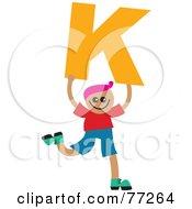 Alphabet Kid Holding A Letter Boy Holding K