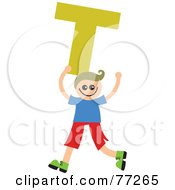 Alphabet Kid Holding A Letter Boy Holding T