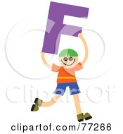 Alphabet Kid Holding A Letter Boy Holding F