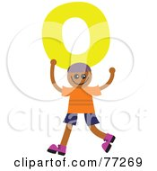 Alphabet Kid Holding A Letter Boy Holding O