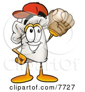 Clipart Picture Of A Chefs Hat Mascot Cartoon Character Catching A Baseball With A Glove by Toons4Biz