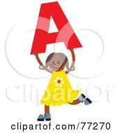 Alphabet Kid Holding A Letter Girl Holding A