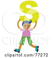 Alphabet Kid Holding A Letter Boy Holding S