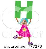 Alphabet Kid Holding A Letter Girl Holding H
