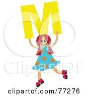 Alphabet Kid Holding A Letter Girl Holding M