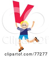 Royalty Free RF Clipart Illustration Of An Alphabet Kid Holding A Letter Boy Holding V