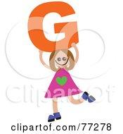 Alphabet Kid Holding A Letter Girl Holding G