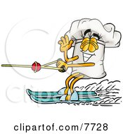 Clipart Picture Of A Chefs Hat Mascot Cartoon Character Waving While Water Skiing by Toons4Biz