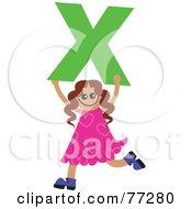 Alphabet Kid Holding A Letter Girl Holding X