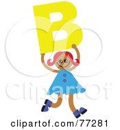 Alphabet Kid Holding A Letter Girl Holding B