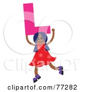 Royalty Free RF Clipart Illustration Of An Alphabet Kid Holding A Letter Girl Holding L