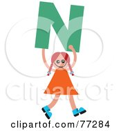 Royalty Free RF Clipart Illustration Of An Alphabet Kid Holding A Letter Girl Holding N by Prawny