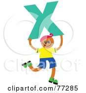 Royalty Free RF Clipart Illustration Of An Alphabet Kid Holding A Letter Boy Holding X by Prawny