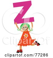 Royalty Free RF Clipart Illustration Of An Alphabet Kid Holding A Letter Girl Holding Z by Prawny