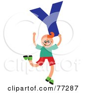 Royalty Free RF Clipart Illustration Of An Alphabet Kid Holding A Letter Boy Holding Y by Prawny