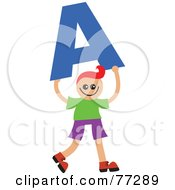 Royalty Free RF Clipart Illustration Of An Alphabet Kid Holding A Letter Boy Holding A