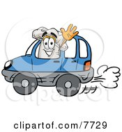 Clipart Picture Of A Chefs Hat Mascot Cartoon Character Driving A Blue Car And Waving by Toons4Biz