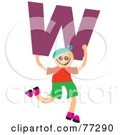 Royalty Free RF Clipart Illustration Of An Alphabet Kid Holding A Letter Boy Holding W by Prawny