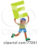 Royalty Free RF Clipart Illustration Of An Alphabet Kid Holding A Letter Boy Holding E by Prawny