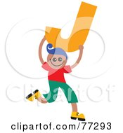 Royalty Free RF Clipart Illustration Of An Alphabet Kid Holding A Letter Boy Holding J by Prawny