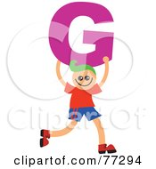 Royalty Free RF Clipart Illustration Of An Alphabet Kid Holding A Letter Boy Holding G by Prawny