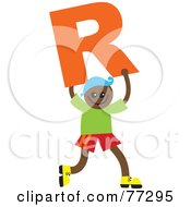 Royalty Free RF Clipart Illustration Of An Alphabet Kid Holding A Letter Boy Holding R by Prawny