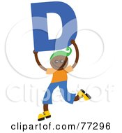 Royalty Free RF Clipart Illustration Of An Alphabet Kid Holding A Letter Boy Holding D by Prawny
