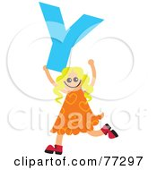 Royalty Free RF Clipart Illustration Of An Alphabet Kid Holding A Letter Girl Holding Y by Prawny