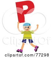 Royalty Free RF Clipart Illustration Of An Alphabet Kid Holding A Letter Boy Holding P by Prawny