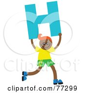 Royalty Free RF Clipart Illustration Of An Alphabet Kid Holding A Letter Boy Holding H by Prawny