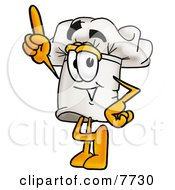 Clipart Picture Of A Chefs Hat Mascot Cartoon Character Pointing Upwards by Toons4Biz
