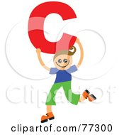 Royalty Free RF Clipart Illustration Of An Alphabet Kid Holding A Letter Boy Holding C by Prawny