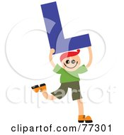 Royalty Free RF Clipart Illustration Of An Alphabet Kid Holding A Letter Boy Holding L