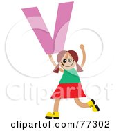 Royalty Free RF Clipart Illustration Of An Alphabet Kid Holding A Letter Girl Holding V by Prawny