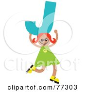 Royalty Free RF Clipart Illustration Of An Alphabet Kid Holding A Letter Girl Holding J by Prawny