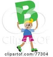 Royalty Free RF Clipart Illustration Of An Alphabet Kid Holding A Letter Boy Holding B by Prawny