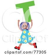 Alphabet Kid Holding A Letter Girl Holding T