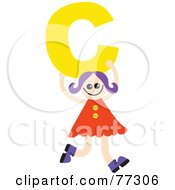 Royalty Free RF Clipart Illustration Of An Alphabet Kid Holding A Letter Girl Holding C by Prawny