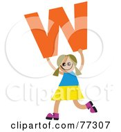 Royalty Free RF Clipart Illustration Of An Alphabet Kid Holding A Letter Girl Holding W by Prawny