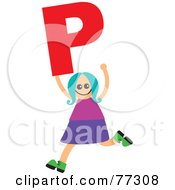 Royalty Free RF Clipart Illustration Of An Alphabet Kid Holding A Letter Girl Holding P by Prawny